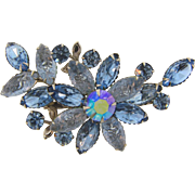 Vintage 1960's rhinestone Brooch in a floral design in blue tones
