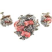 Signed Mariam Haskell Brooch and clip on Earrings with baroque imitation pearls and art glass beads