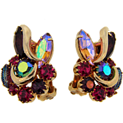 Signed Kramer clip back rhinestone Earrings in pink and purple hues