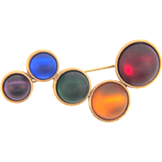 Cute vintage Brooch with multicolored satin glass bubble cabochons