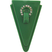 Classic Art Deco Dress Clip in  green hard plastic with crystal rhinestones