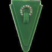 Classic Art Deco Dress Clip in  green hard plastic with crystal rhinestones