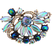 Unusual vintage 1960's Brooch with crystal rhinestones and iridescent cabochons