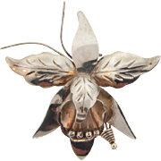 Marked sterling 925 Taxco with initials DS silver orchid Brooch