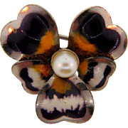 Signed Carl-Art tiny sterling pansy Scatter/ Lapel Pin