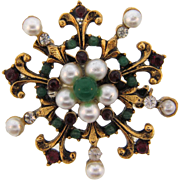 Signed ART renaissance style Brooch with imitation pearls, green glass beads, red and crystal rhinestones