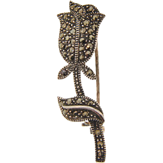 Marked 925 sterling silver marcasite small tulip Brooch