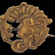Tiny Art Nouveau scatter/ lapel pin of a woman's face