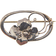 Small sterling silver floral Brooch