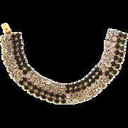 Signed Hobe black and crystal rhinestone Bracelet