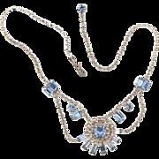 Petite vintage festoon choker Necklace with crystal and light blue rhinestones