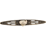 Marked sterling Bar Pin with a blister pearl and marcasites