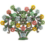 Vintage 1940's pot metal figural flower basket Brooch with small composition flowers and crystal rhinestones