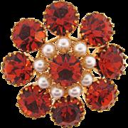 Vintage Brooch with bright orange rhinestones and imitation pearls