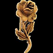 Signed Crown Trifari antiqued gold tone rose Brooch