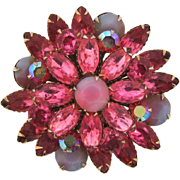 Vintage layered rhinestone Brooch in a floral design and pink shades