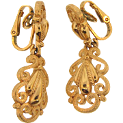 Signed Crown Trifari vintage clip back 2 part dangling Earrings