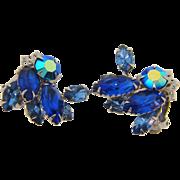 Vintage 1960's clip back Earrings in blue tones