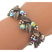 Lovely vintage 1960's rhinestone silver tone Bracelet with AB stones and imitation pearls