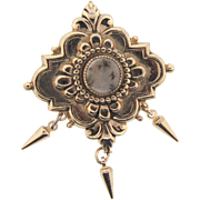 Signed Pegasus Coro Victorian Revivial style Brooch with center Dendritic Quartz stone