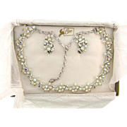 Signed pegasus Coro choker Necklace and clip back Earrings with AB rhinestones in original presentation box