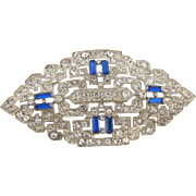 Art Deco 1930's white metal Brooch with crystal and blue rhinestones