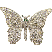 Vintage Art Deco pot metal figural butterfly Brooch with crystal rhinestones