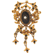 Vintage Renaissance style Brooch with black stones and imitation pearls