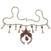 Signed ART faux Squash Blossom silver tone long Necklace with composition mottled red cabochons