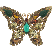 Vintage Juliana D&E figural rhinestone Butterfly Brooch in fall colors