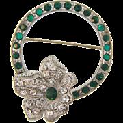 Vintage 1940's retro Trembler Brooch with crystal and green rhinestones