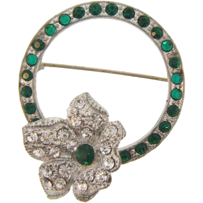 Vintage 1940's retro Trembler Brooch with crystal and green rhinestones