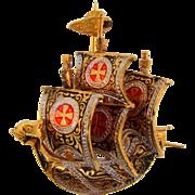 Vintage Toledoware figural small Spanish Galleon ship Brooch