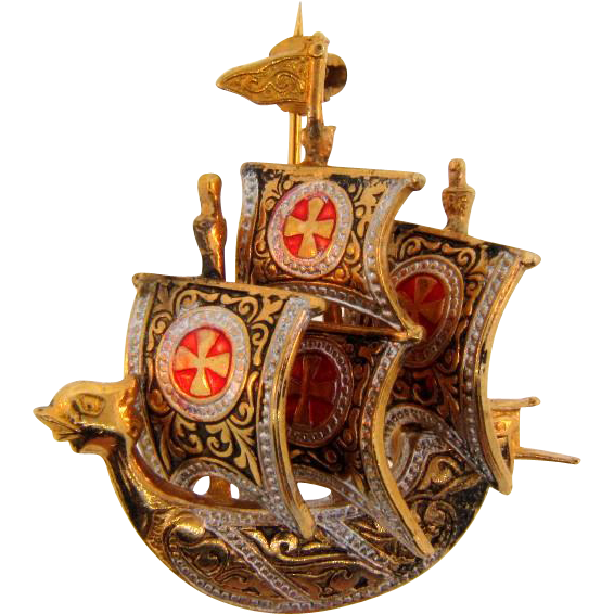 Vintage Toledoware figural small Spanish Galleon ship Brooch