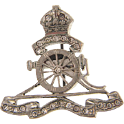 Small vintage Scatter Pin/Medal of a cannon and crown with paste stones