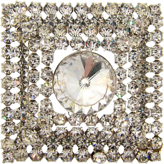 Vintage 1960's  layered Brooch in all crystal rhinestones