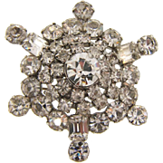 Vinatge 1950's large snowflake domed all crystal rhinestone Brooch