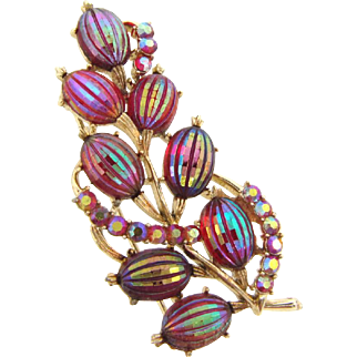 Signed Pegasus Coro large 1960's Brooch with iridescent ribbed cabochons and AB pink rhinestones