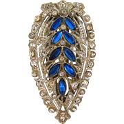 Art Deco Dress Clip white metal with crystal and blue rhinestones
