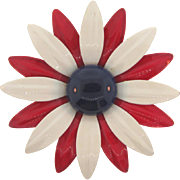 Vintage 1960's large flower Brooch in red,white and blue enamel
