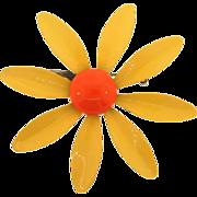 Vintage 1960's daisy enamel flower Brooch