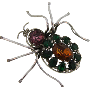 Marked Czechoslovakia figural spider Brooch with rhinestone body and head