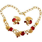 Signed Kunio Matsumoto  1970's Trifari Necklace and clip back Earrings with red Lucite berries and red rhinestones