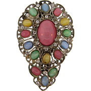 Large Art Deco 1930's Dress Clip with multicolored stones and crystal rhinestones