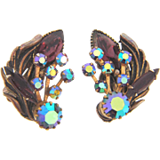 Gorgeous clip back Earrings with purple rhinestones and AB stones