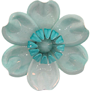 Vintage 1960's large metal flower Brooch in pastel blue enamel