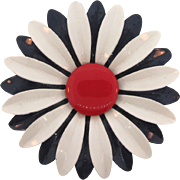 Vintage large metal 1960's flower Brooch with red,white, deep blue enamel