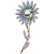 Vintage  1960's D&E Juliana long stem flower Brooch with blue rhinestones