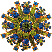 Vintage 1960's large floral Brooch with blue and green rhinestones