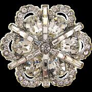 Large  1950's crystal rhinestone floral Brooch